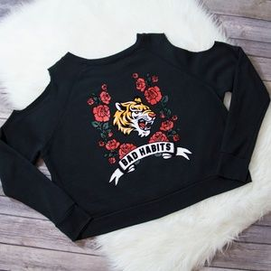 GypsyHeart Cold Shoulders Sweater w/ Roses & Tiger